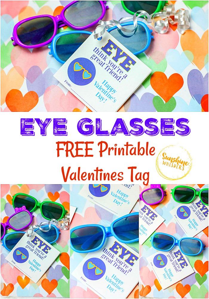 eye glasses free printable valentines tag