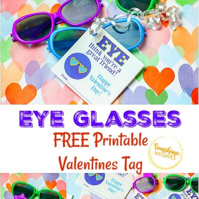 Eye Glasses FREE Printable Valentines Tag