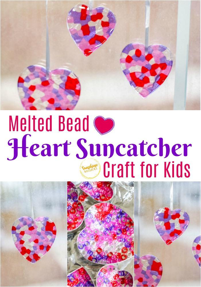 Melted Bead Heart Suncatcher Craft for Kids