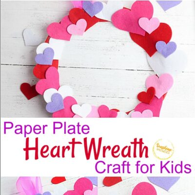 Valentine's Day Paper Plate Heart Wreath Craft!