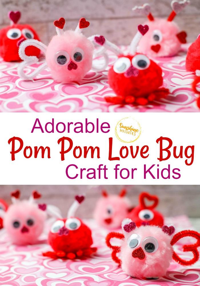 pom pom love bug craft