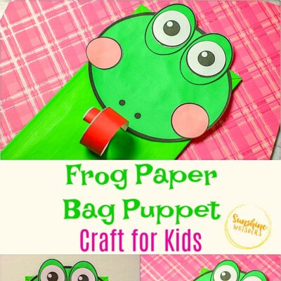 Frog Paper Bag Puppet Craft For Kids (FREE Template!)