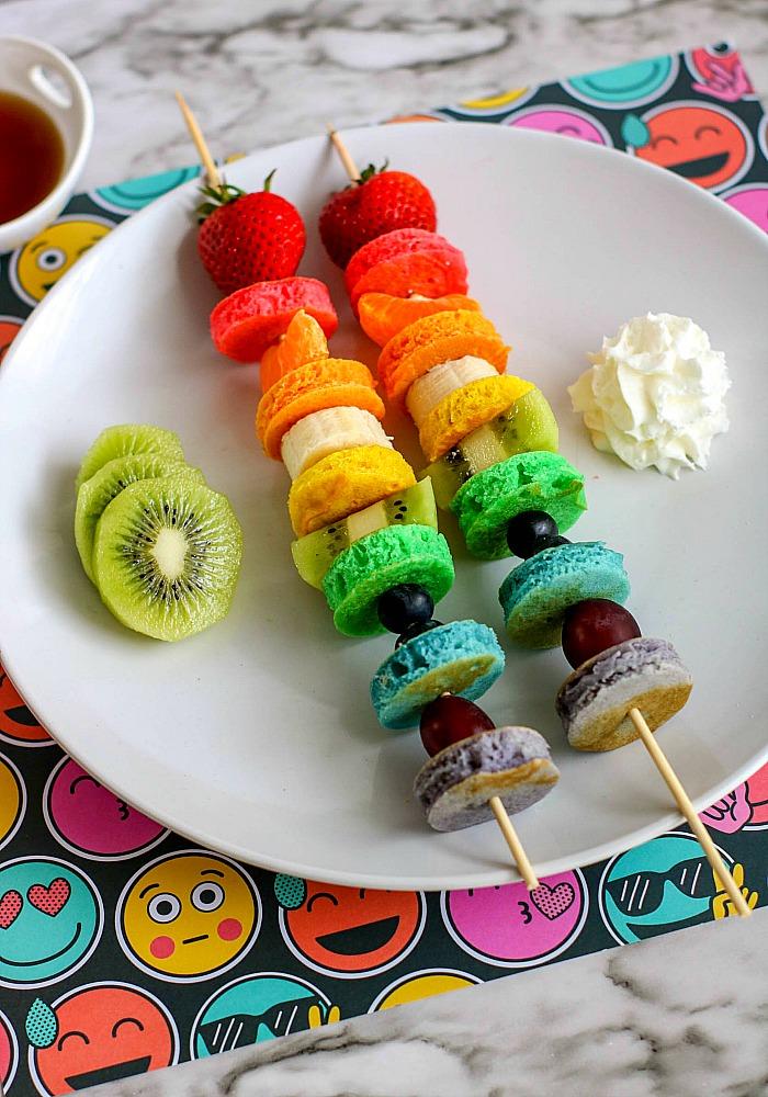 rainbow pancake fruit skewers