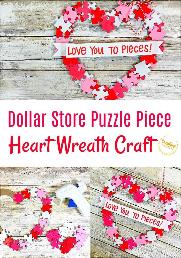 dollar store puzzle piece heart wreath craft