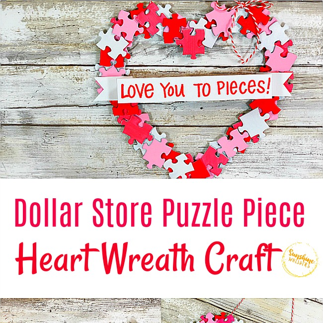 Dollar Store Puzzle Piece Heart Wreath Craft