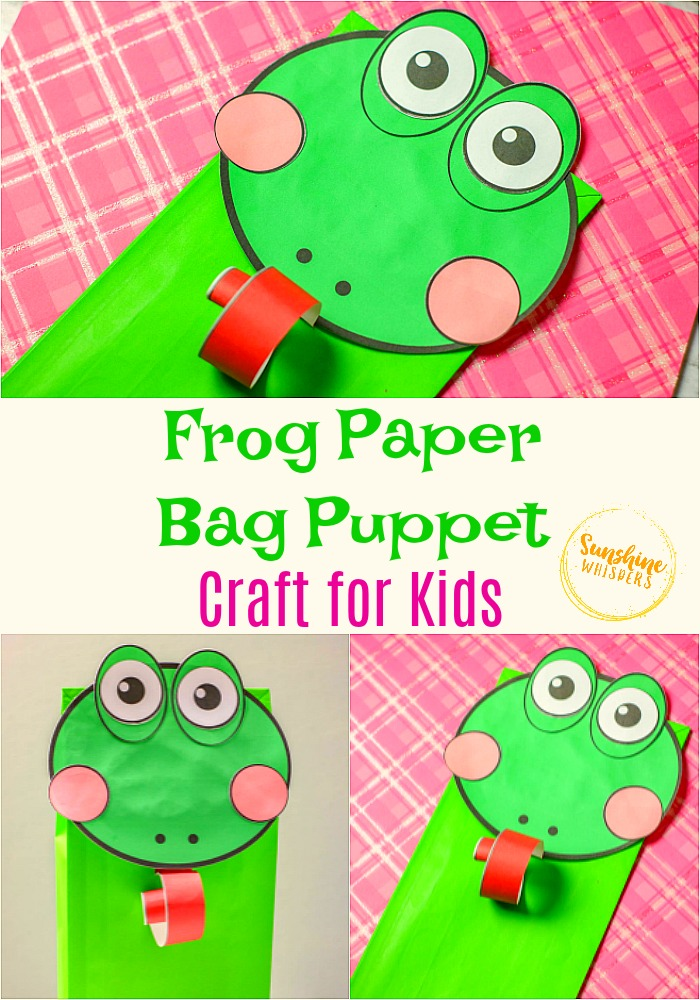 frog paper bag puppet craft for kids