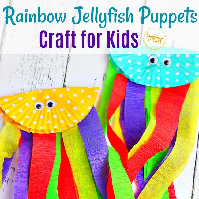 Rainbow Jellyfish Puppets Craft