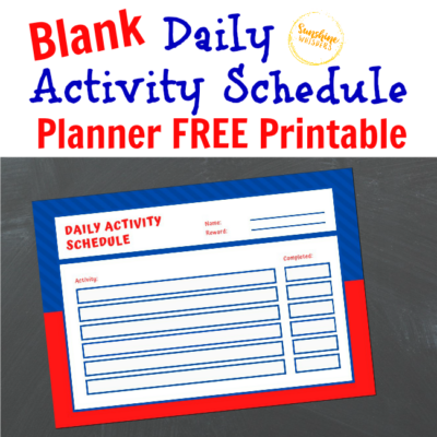 Blank Daily Activity Schedule Planner FREE Printable