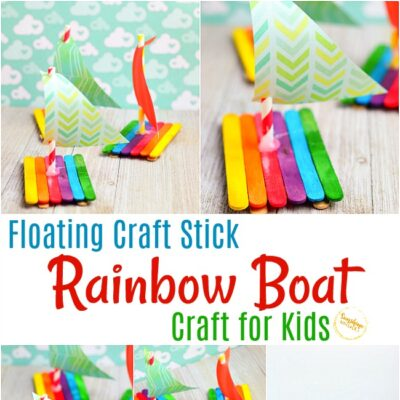 Floating Craft Stick Rainbow Boat Craft For Kids