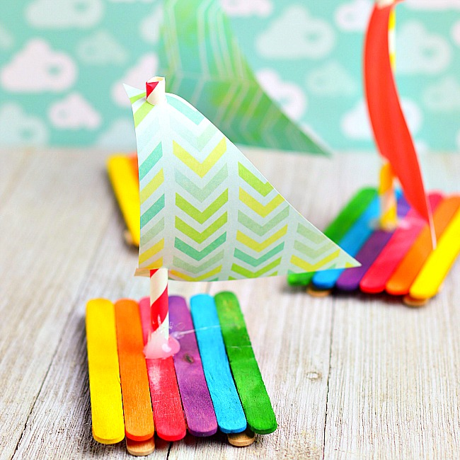 craft stick rainbow boat