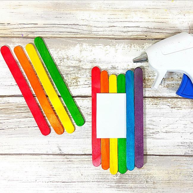 dollar store cloud and rainbow craft stick craft