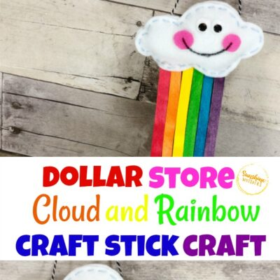 Dollar Store Cloud And Rainbow Craft Stick Craft For Kids