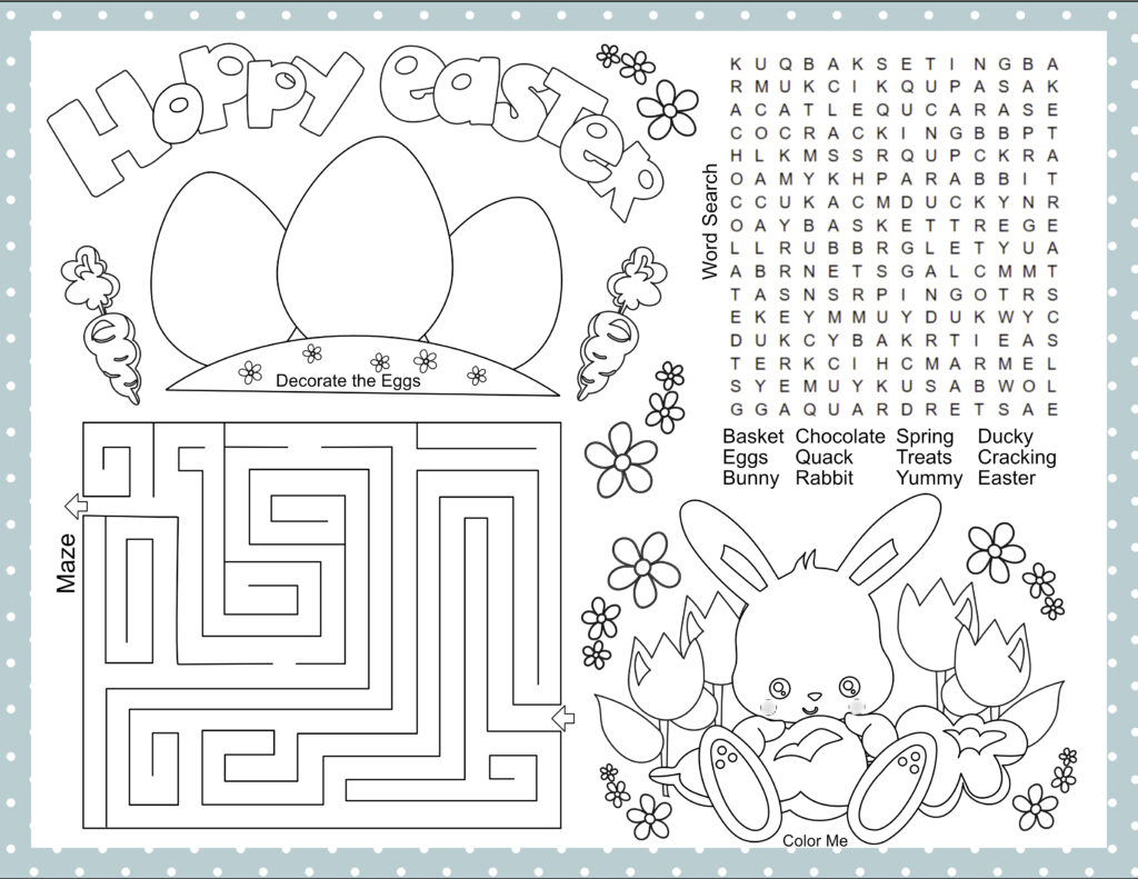 Easter Activity Placemat For Kids