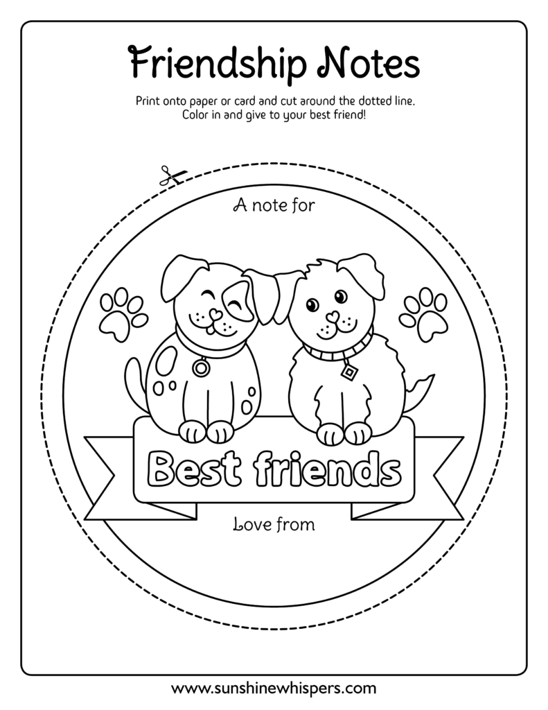 printable best friends coloring page notes