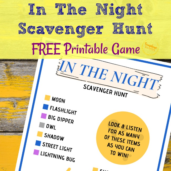 In the night scavenger hunt free printable game