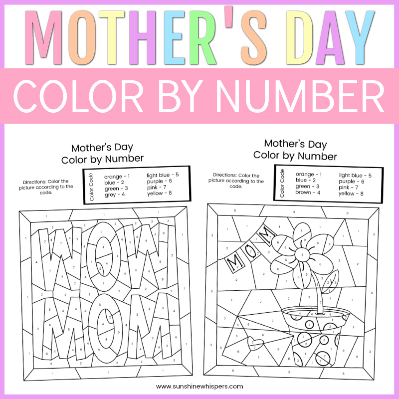 Mother's Day Color By Number FREE Printable Coloring Pages