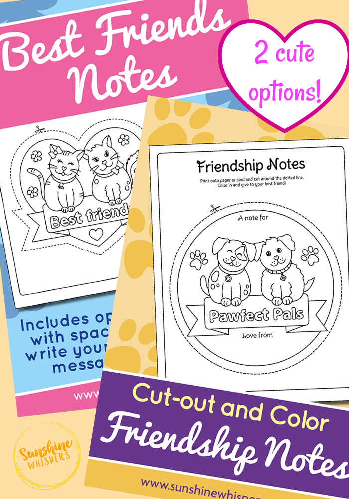 best friends note coloring page printable