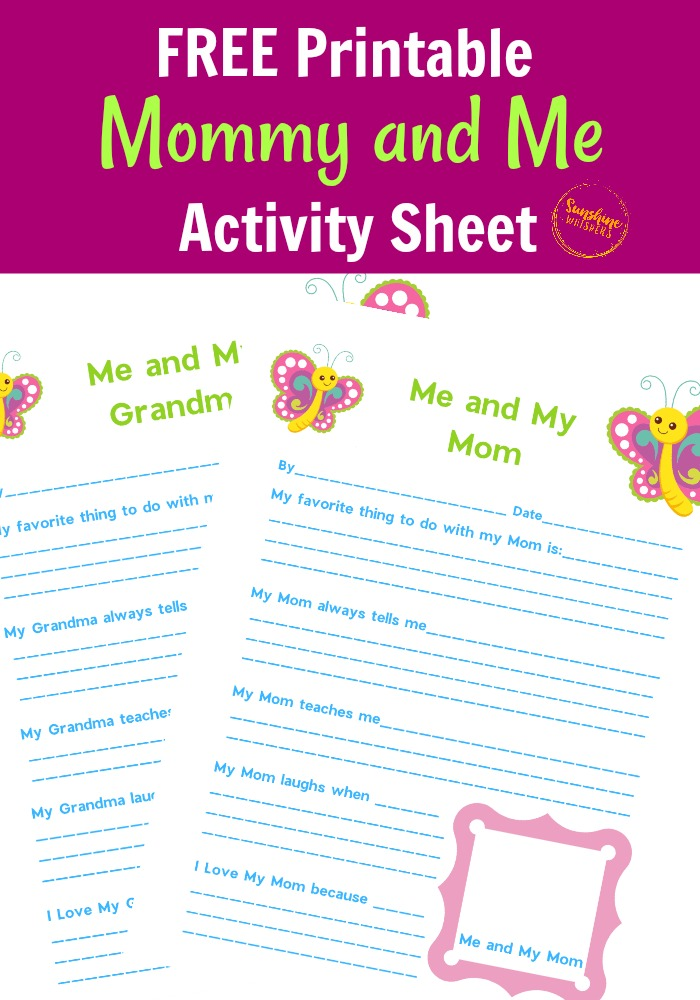 FREE Printable Mommy and Me Activity Page