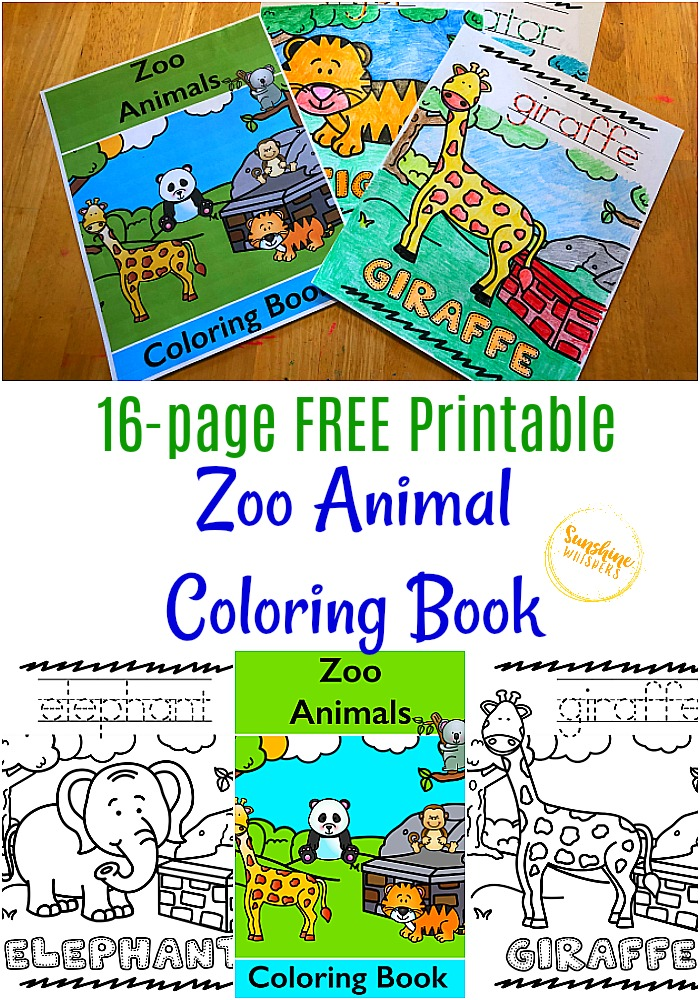 FREE Printable Zoo Animal Coloring Book For Kids