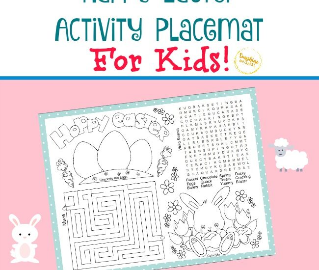 happy easter activity placemat for kids