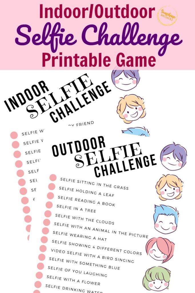 selfie challenge printable game for kids