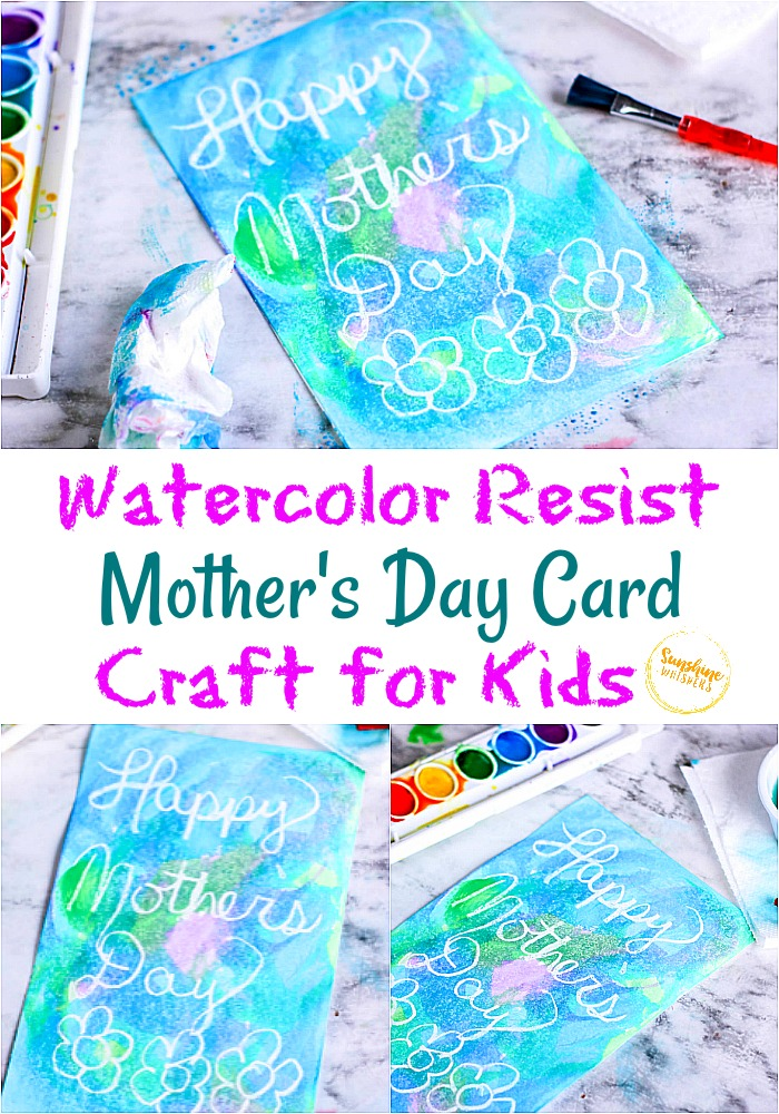 watercolor resist mother's day card craft for kids