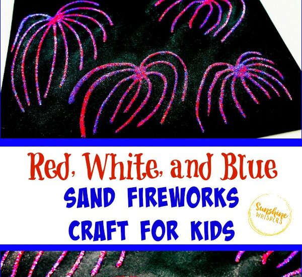 Red White and Blue Sand Fireworks Craft for Kids 13