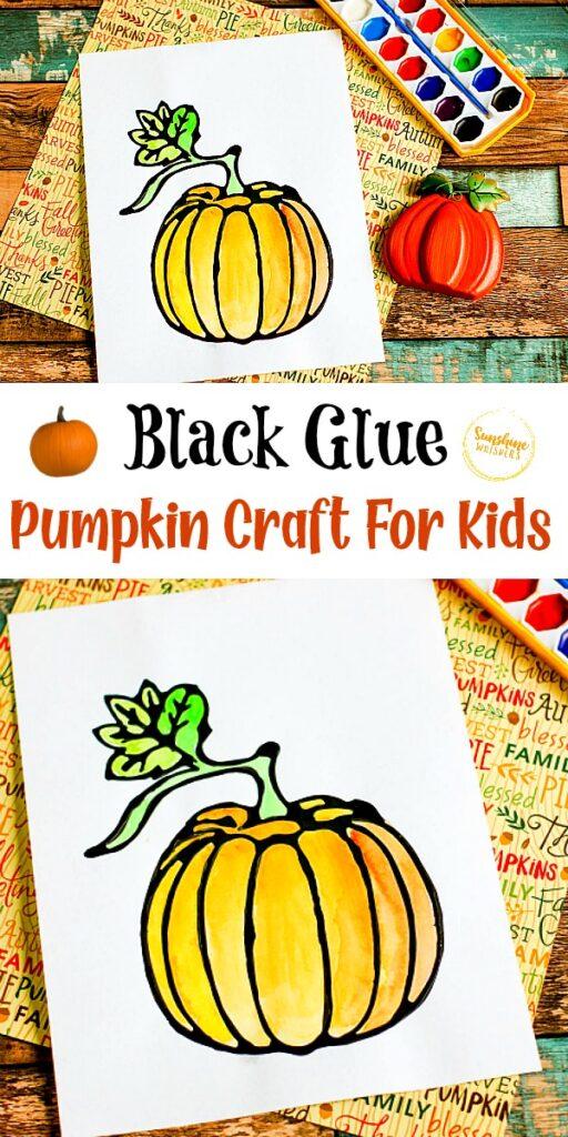 Black Glue Pumpkin Craft For Kids