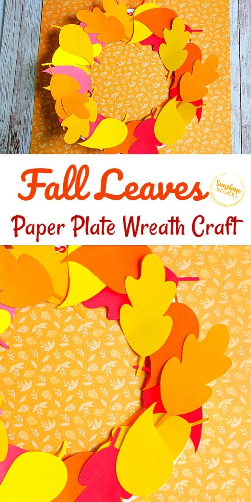 fall leaves paper plate wreath craft for kids
