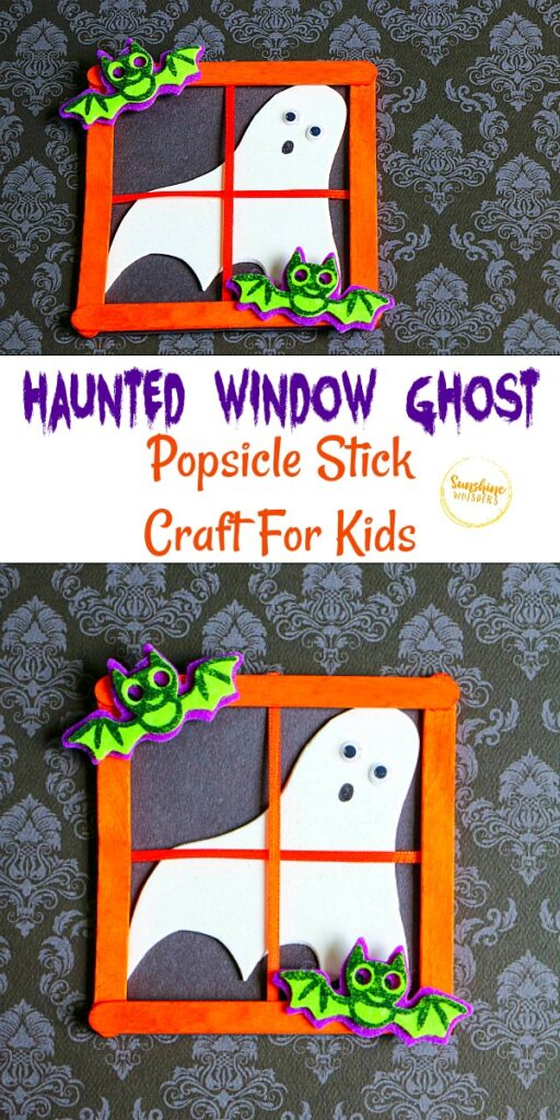 haunted window ghost popsicle stick craft for kids