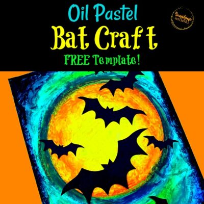 Oil Pastel Bat Craft and Art Project For Kids (with FREE Bat Template!)