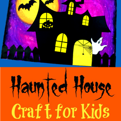 Haunted House Oil Pastel Craft For Kids {with FREE template!}