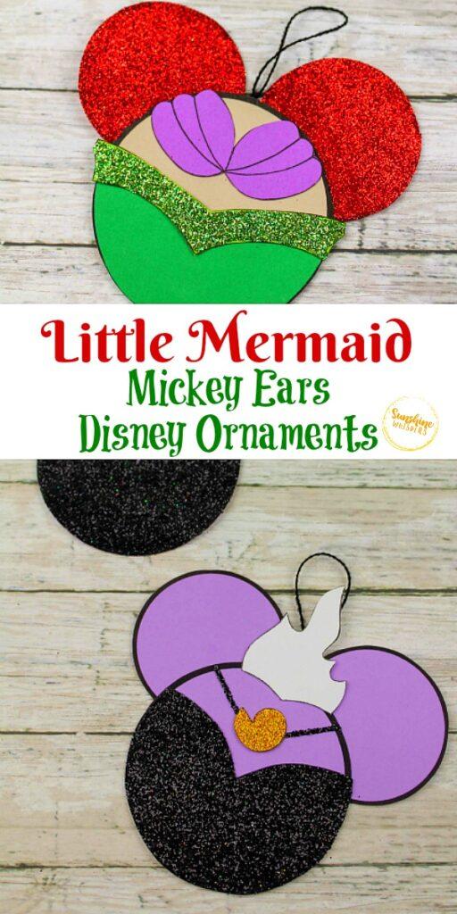 Little Mermaid Mickey Ears Disney Ornament
