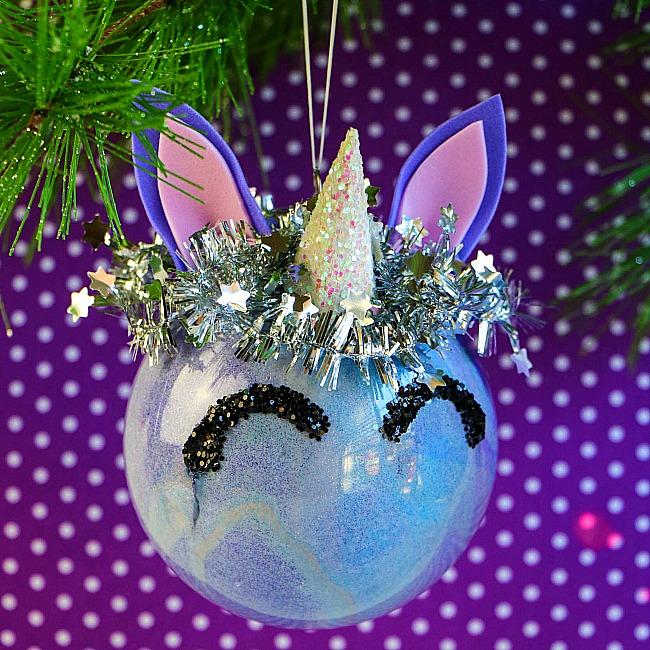 painted clear unicorn ornament