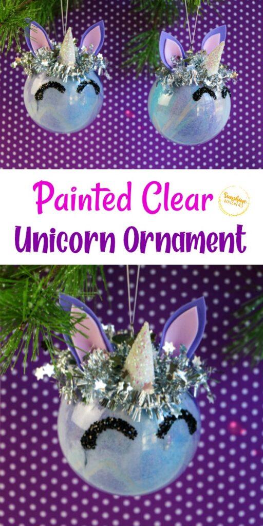 clear unicorn ornament
