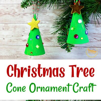 Super Easy Christmas Tree Cone Ornament Craft for Kids