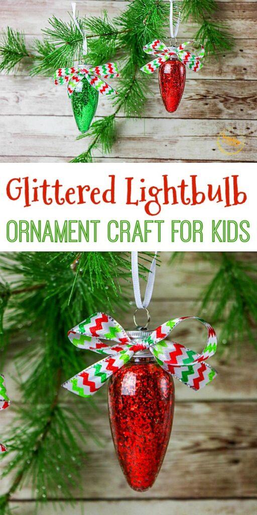 glittered lightbulb ornament craft