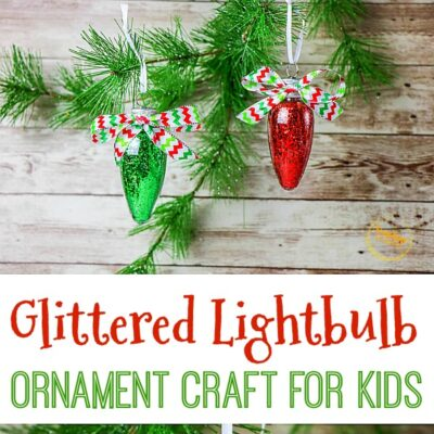 Glittered Lightbulb Ornament Craft For Kids