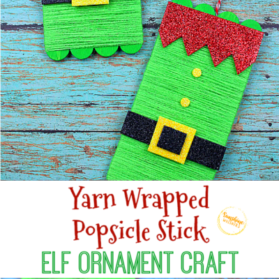 Yarn Wrapped Popsicle Stick Elf Ornament Craft
