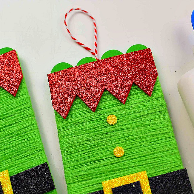 yarn wrapped popsicle stick elf ornament