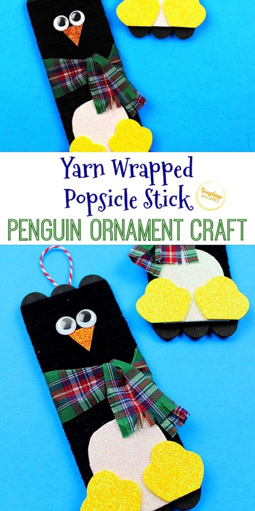 yarn wrapped popsicle stick penguin ornament