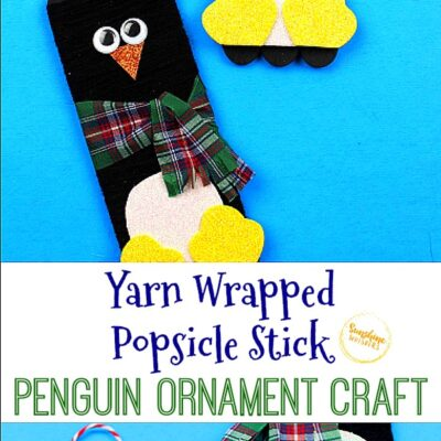 Yarn Wrapped Popsicle Stick Penguin Ornament Craft