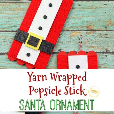 Yarn Wrapped Popsicle Stick Santa Ornament Craft