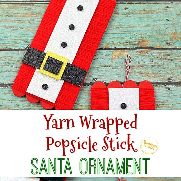yarn wrapped popsicle stick santa ornament