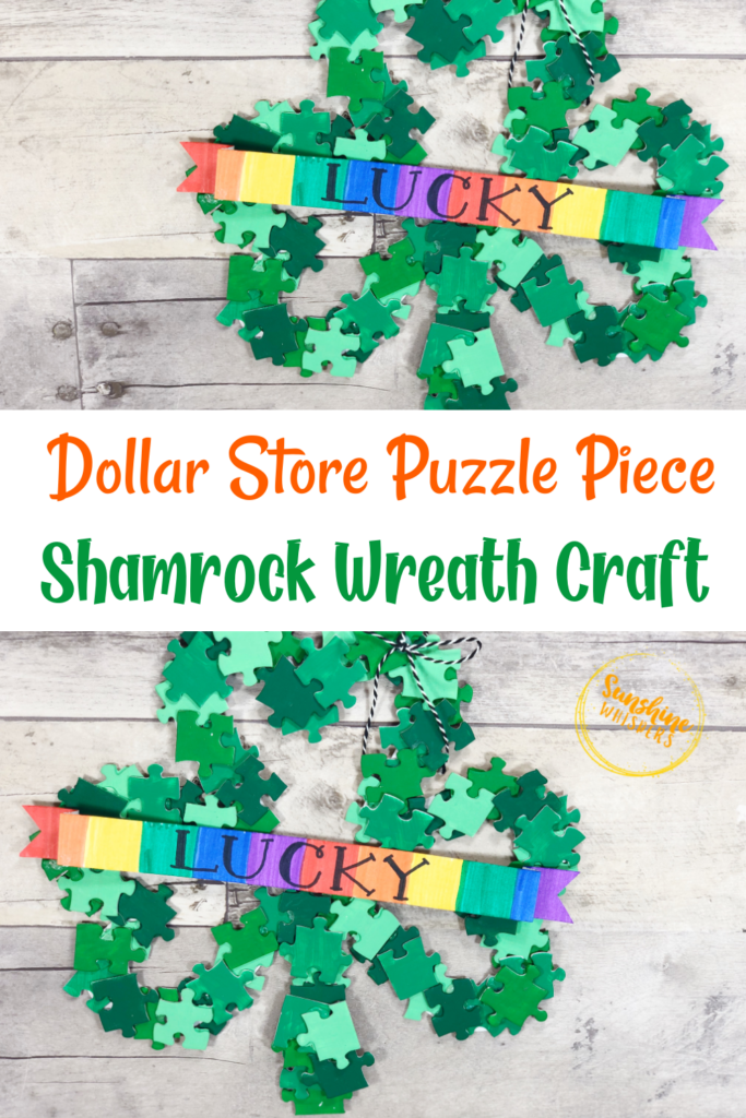 puzzle piece shamrock wreath craft