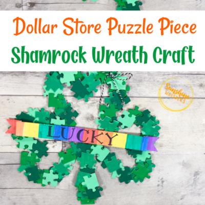 Dollar Store Puzzle Shamrock Wreath Craft For Kids